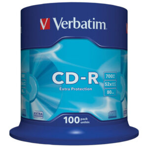 VERBATIM CD-R Datalife Extra Protection bobina pack 100 ud 52x 700MB 80min 43411