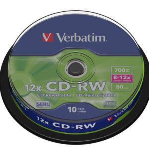 VERBATIM CD-RW Datalife bobina pack 10 ud 12x 700MB 80min 43480