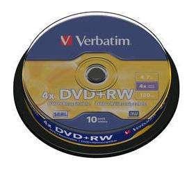 VERBATIM DVD+RW Advanced Serl Bobina 10 ud 4X 4.7GB 43488
