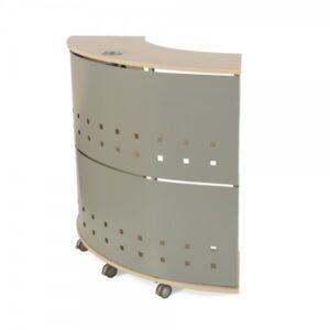 ROCADA Módulo de recepción circular serie Welcome 125x106x38cm Aluminio/Haya
