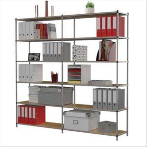 PAPERFLOW Estanteria metalica 6 estantes 80 kg por estante 200x100x35 cm base