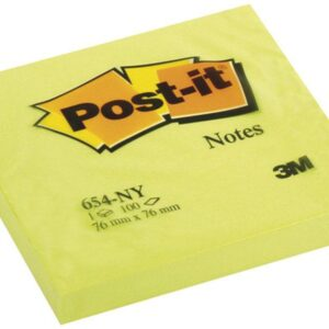 POST-IT Notas adhesivas 100h Amarillo neon 76x76mm 654-NY