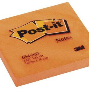 POST-IT Notas adhesivas 100h Naranja neon 76x76mm FT510061946