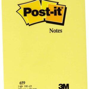 POST-IT Notas adhesivas Gran formato 100h Amarillo 102x152mm