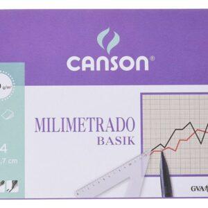 GUARRO CANSON Bloc encolado 50 Hojas Papel milimetrado basik sepia A4 100 Gr