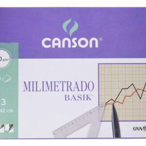 GUARRO CANSON Bloc encolado 50 Hojas Papel milimetrado basik sepia A3 100 Gr
