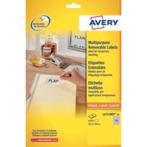 AVERY Etiquetas removibles Caja 25 hojas 4725 ud 25,4×10 Blancas L4731REV-25