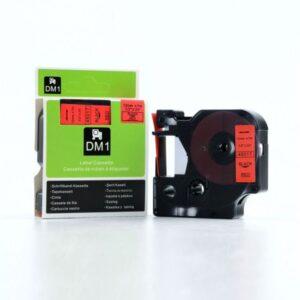 DYMO Cintas D1 Rotulacion 12 mm x 7 m negro/rojo Adhesivo permanente