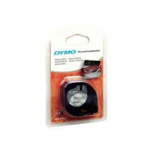 DYMO Cinta Rotuladora letratag 12 mm x 4 m Negro/Plata