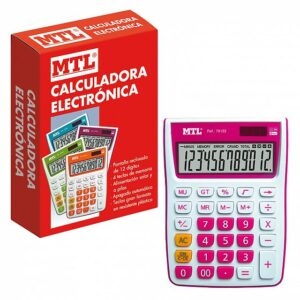 MTL CALCULADORA MEDIANA 12 DIGITOS COLOR ROSA