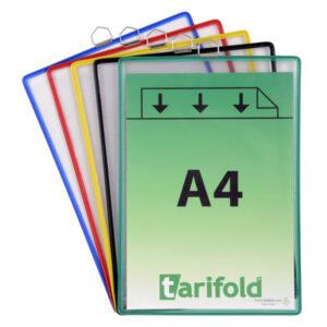 TARIFOLD Pack 5 Fundas colgantes A4 Marco hilo acero Colores surtidos 154509