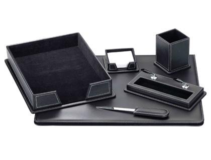 Escribania de sobremesa negro simil piel juego de 6 piezas. 80-DSCB6