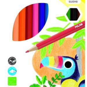 MILAN Caja 12 lápices de colores hexagonales