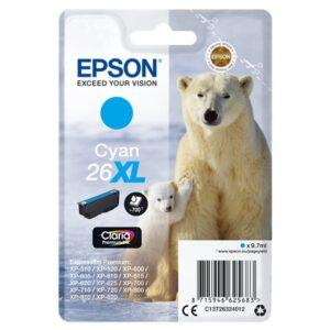 EPSON cartucho inyección cián 9,7ml 700 páginas 26XL XP-600/605/700/800 C13T26324012