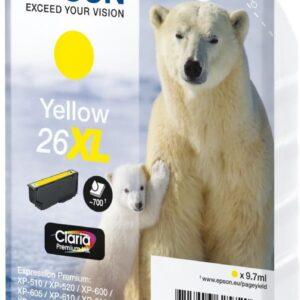 EPSON cartucho inyección amarillo 9,7ml 700 páginas 26XL XP-600/605/700/800 C13T26344012