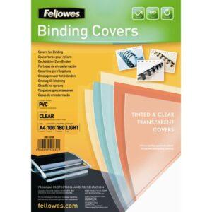 FELLOWES PACK DE 100 PORTADAS PVC TRANSPARENTE CRISTAL A4 180 MICRAS 5375901