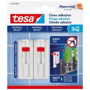 TESA Clavo adhesivo ajustable hasta 3Kg para azulejos 777640000100