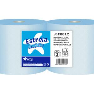 AMOOS paquete de 2 rollos Papel secamanos industrial 2 capas 235 mm x 300 mt color azul