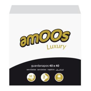 AMOOS Pack 50 servilletas 2 capas 40x40cm muy suaves 100% fibra pura T6225013