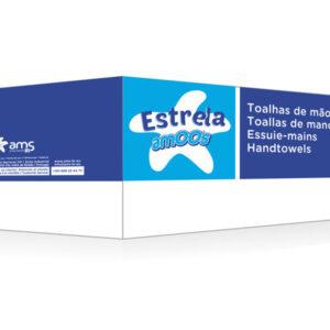 AMOOS Caja 20 paquetes de 200 toallas de mano 2 capas plegado V 21×22 100% fibra pura