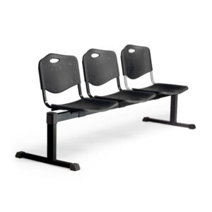 PYC Bancada Pozohondo 3 plazas con asiento en plástico negro