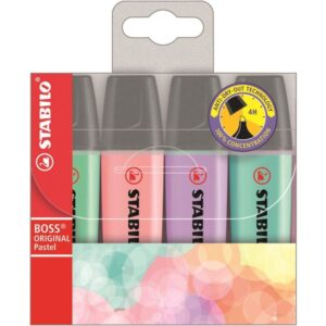 STABILO Estuche 4 marcadores fluorescentes Boss pastel surtidos