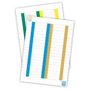 ELBA Paquete 10 hojas x 25 etiquetas cristal/kio 8,2×1,3 blancas borde color