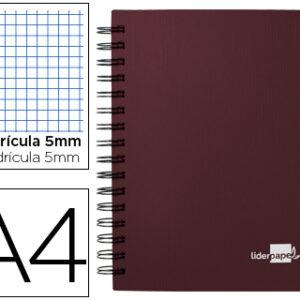 Cuaderno espiral liderpapel A4 micro executive 100h 80 gr cuadro 5, 5 separadores, burdeos
