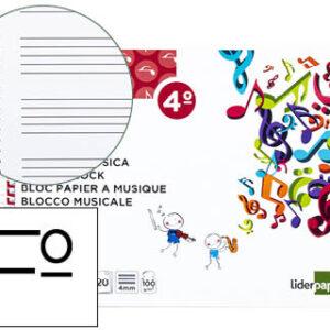 Bloc musica liderpapel pentagrama 4mm cuarto 20 hojas 100g/m2. BM06