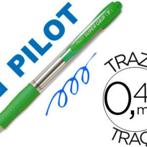 PILOT Boligrafo retractil Supergrip 1mm verde claro Trazo 0,4mm BPGPVC