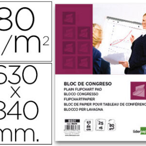 BLOC CONGRESO 25H  LIDERPAPEL LISO 63X84 80GR