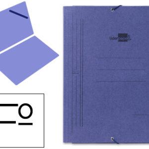 Carpeta liderpapel gomas folio sencilla carton pintado azul CG03