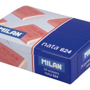 MILAN Caja 24 gomas nata 624 con bando celofan rosa