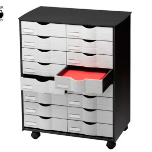 PAPERFLOW Muebles multiusos 16 cajones 547X407X614 Negro y gris Poliestireno Ruedas DT161.02