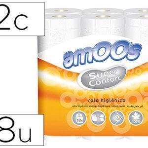 Papel higienico amoos doble largo 2 capas 120 mm diametro x 90 mm alto paquete de 18 rollos.