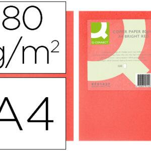 Papel color Q-Connect din A4 80gr rojo intenso paquete de 500 hojas.
