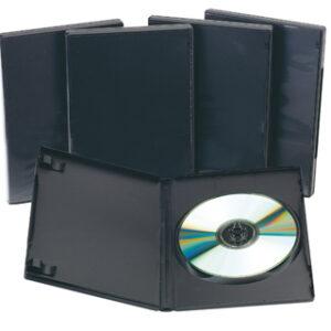 PACK 5 CAJAS PLASTICO NEGRO PARA DVD Q-CONNECT KF02211