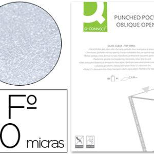 CAJA 100 FUNDAS A4 PLANOS CORTE OBLICUO 4 TALADROS/PVC