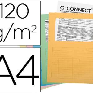 PAQ. 25 SUBCARPETAS C/VENTANA Q-CONNECT COLORES CARTULINA 120GR. KF15249