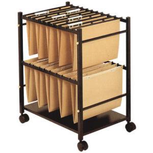 Carrito para carpetas colgantes q-connect negro con ruedas para carpetas tamaño folio carro fijo