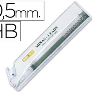 Tubo de 12 minas grafito 0,5 mm. HB Liderpapel MG01