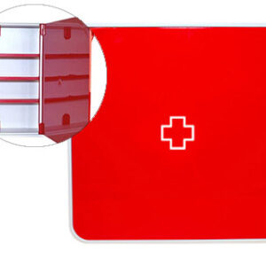 PAPERFLOW Armario mural para Medicinas color Rojo 4 estantes Fabricado en ABS Brillo MTBMH18
