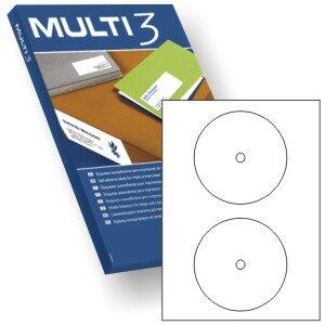 MULTI3 CAJA 100 H ETIQUETAS BLANCAS CD/DVD 117 mm (2 etiq./hoja) 10816