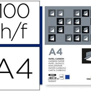 PAQ. 100 PAPEL CARBON AZUL A4 LIDERPAPEL NR01