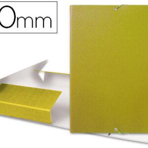 Carpeta proyectos liderpapel folio lomo 50mm carton gofrado amarilla.