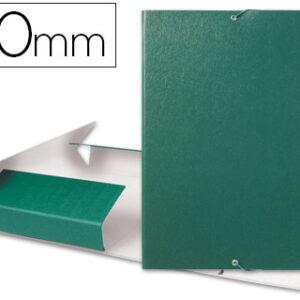 Carpeta proyectos liderpapel folio lomo 50mm carton gofrado verde.