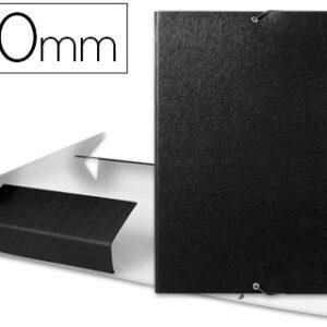 Carpeta proyectos liderpapel folio lomo 90mm carton gofrado negra.