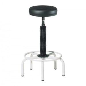 ROCADA Taburete con estructura metálica y base de 5 pies asiento tapizado negro