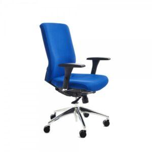 ROCADA Silla de dirección tapizado azul con brazos regulables