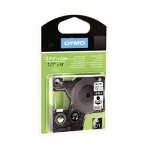 DYMO Cintas D1 Rotulación 12 mm x 5,5 m Negro/Blanco Polyester adhesivo permanente